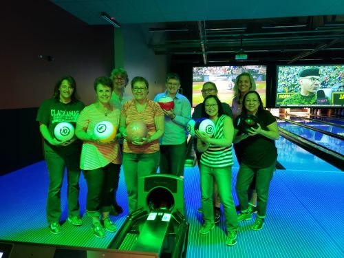 Black light bowling with other regional community college AAWCC members