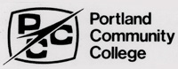 Rounded rectangle surrounding the letters PCC with an arrow over the top to the left of the words Portland Community College