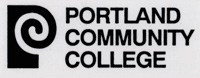 Logo with a swirly-looking P to the left the words Portland Community College