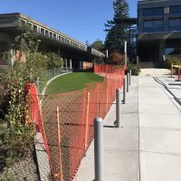 A new Plaza Access Lane was recently built between Sylvania's College Center and Health Technology buildings to provide ADA access as well as emergency and construction vehicles to the west side of campus via the G Street ring road.