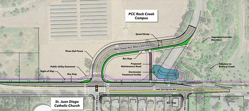 Rock Creek Campus entrance realignment diagram
