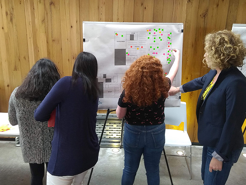 Peope putting colorful sticker markers on a library blueprint