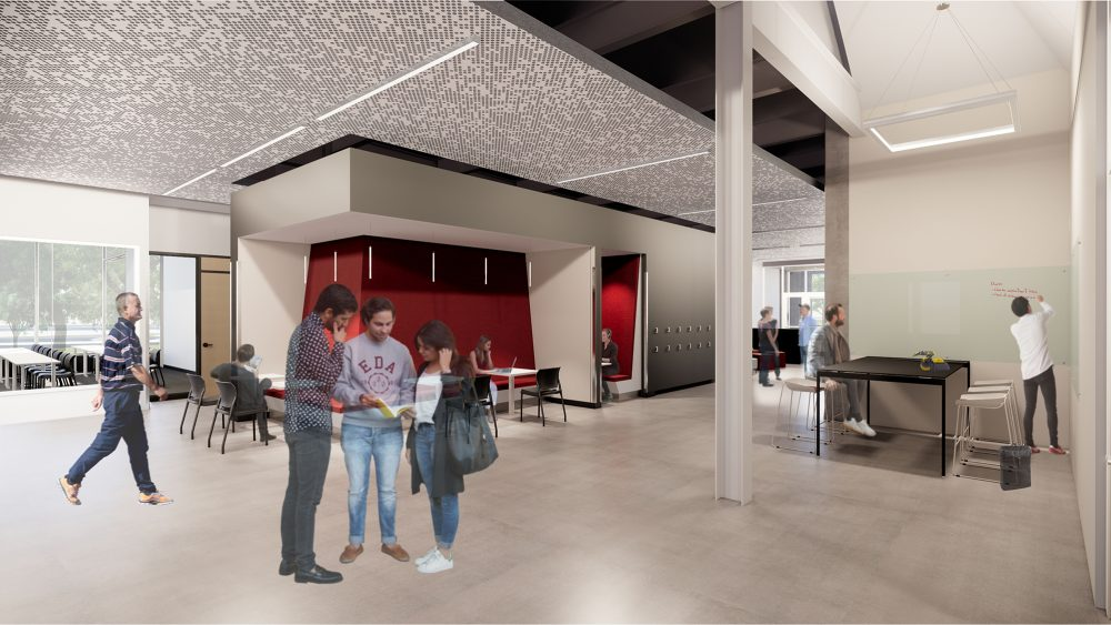 Rendering showing students in cozy interior space