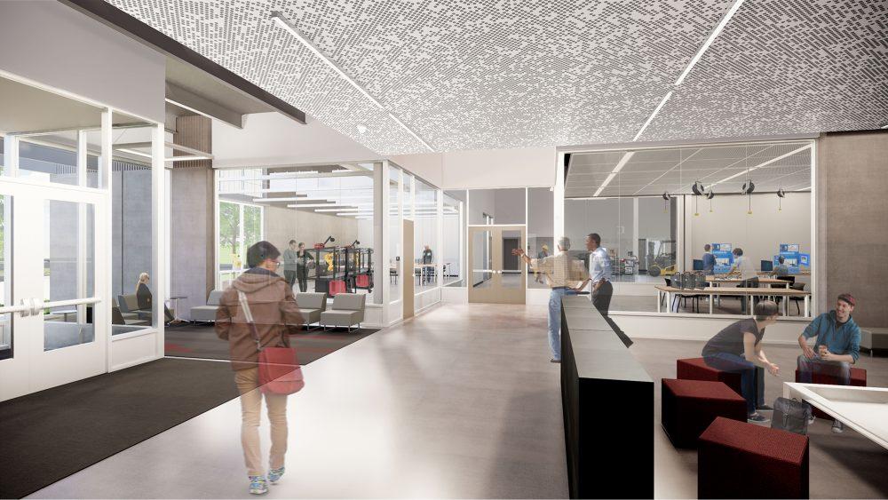 Rendering of large sunlit interior space