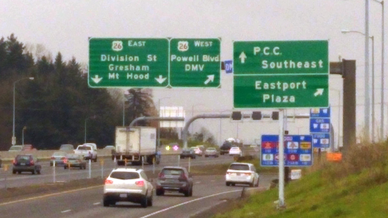 PCC Southeast sign while on 205