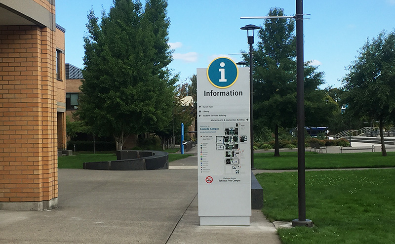 Information sign with campus map