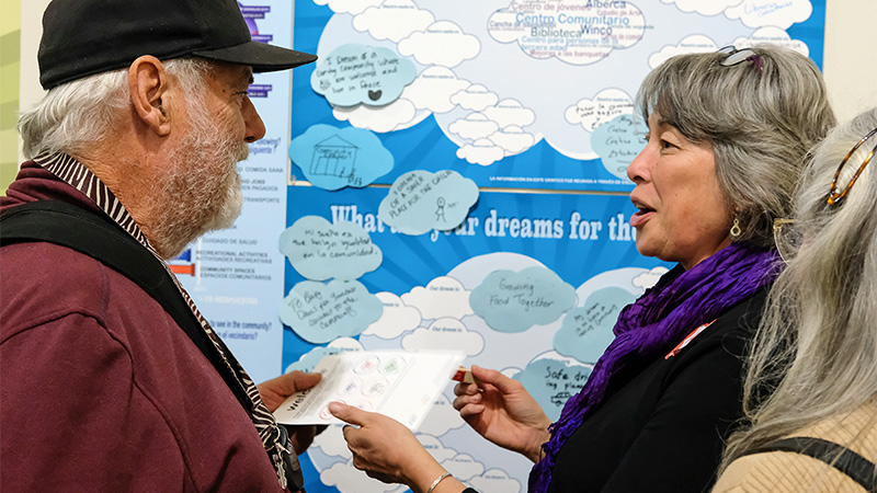People discussing what their dreams for the neighborhood on a large poster