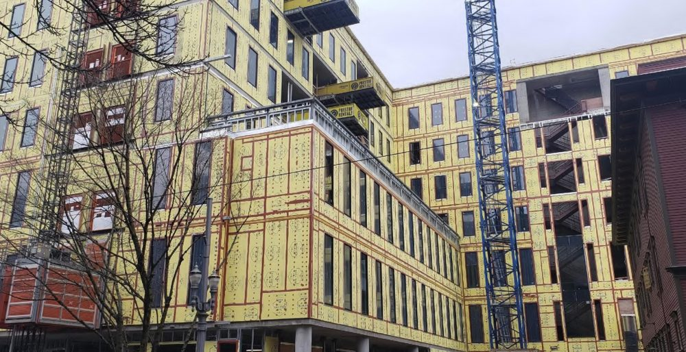 SW elevation of Fourth & Montgomery building construction in progress