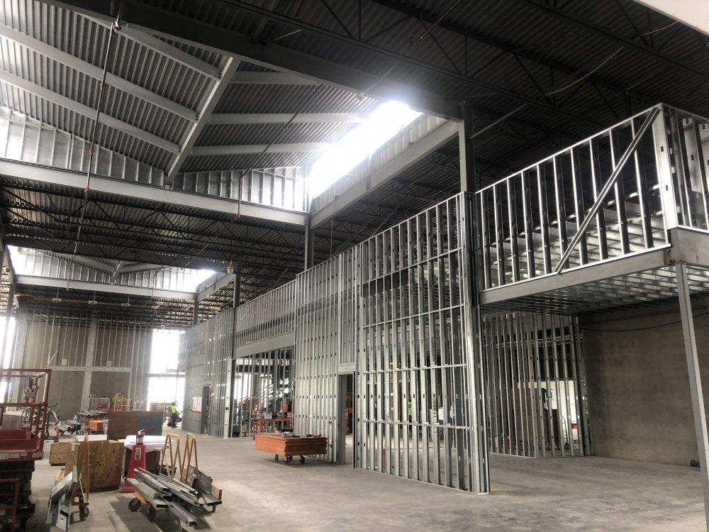 July 2020 Interior wall framing at machine bay area
