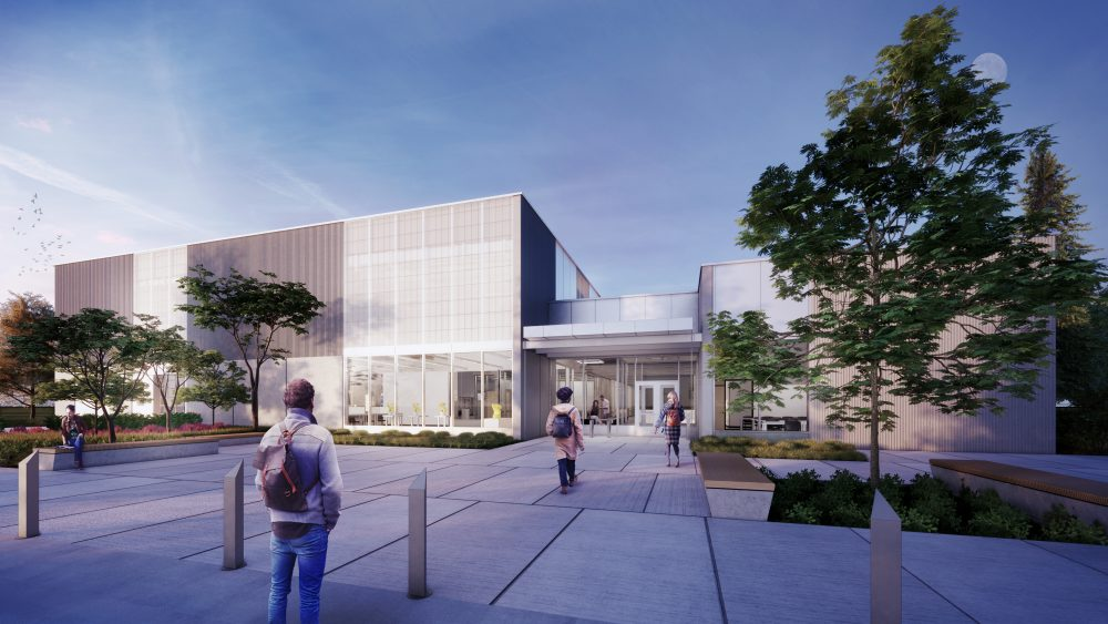 Rendering of exterior view of building entry