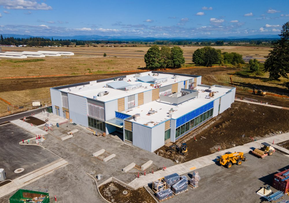 Aerial photo of the OMIC Training Center under construction