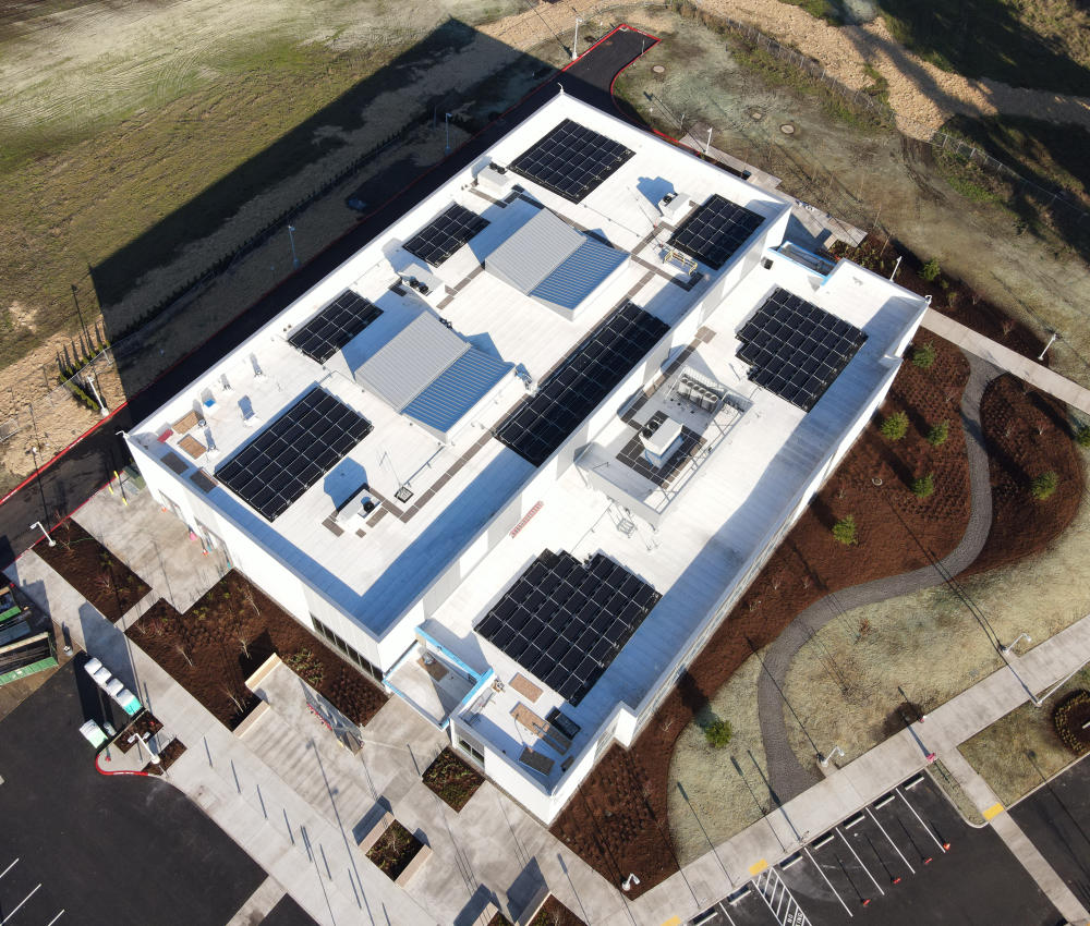 OMIC Training Center Aerial View showing installed solar panels