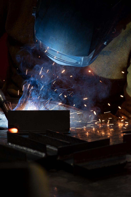 Welding technology student welding