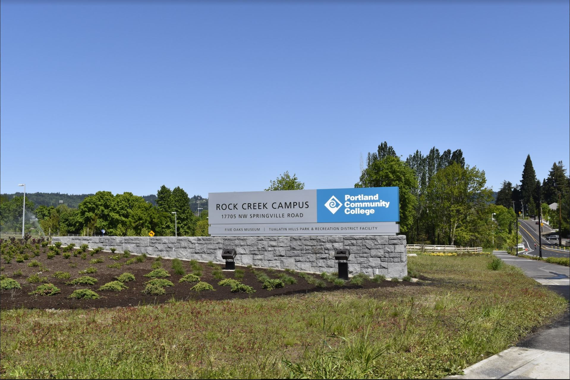Rock Creek Campus monumental entry sign