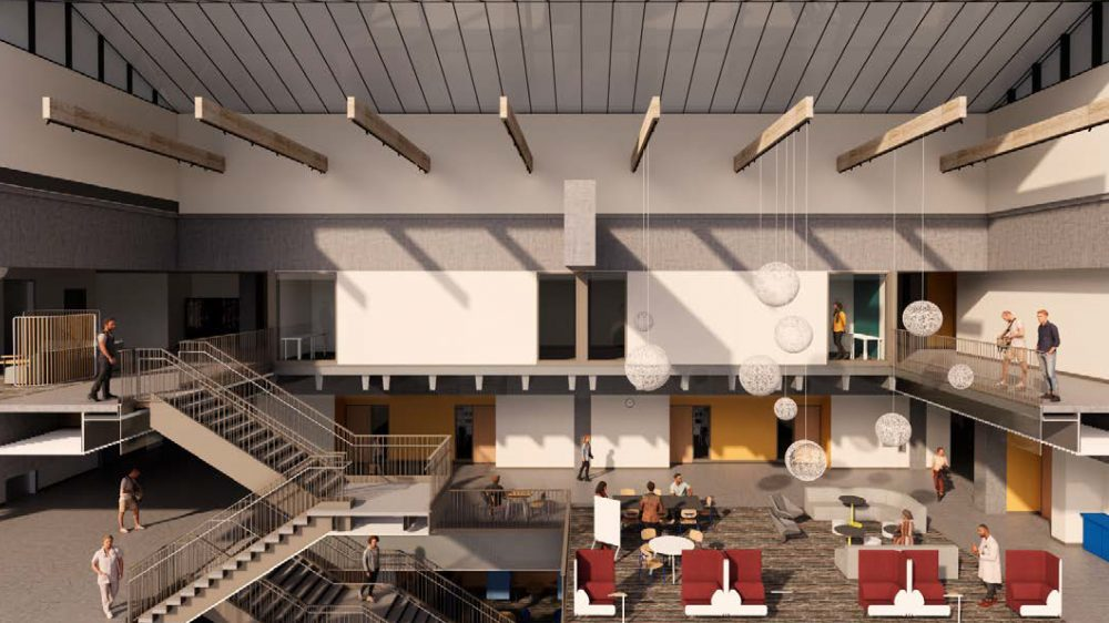 Cross sectional of renovated HT building atrium