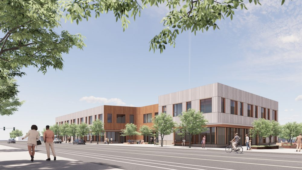 Exterior rendering of building southeast view