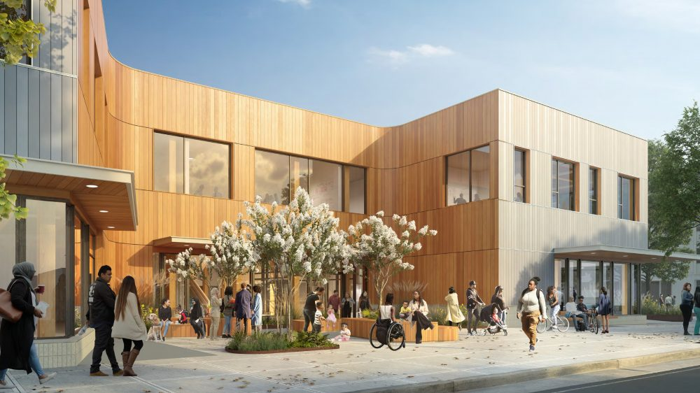 Exterior rendering of the building entry