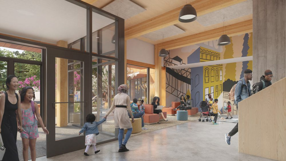 Interior rendering of building lobby