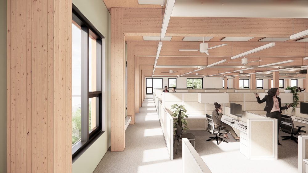 Interior rendering of office areas