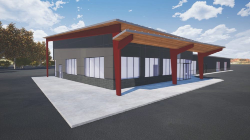 Exterior rendering, Southwest elevation of front entry