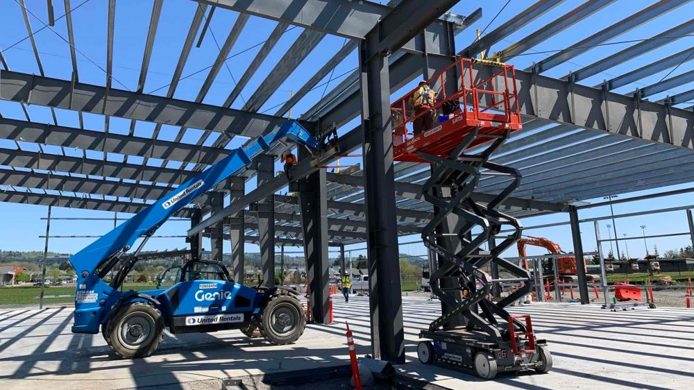 Metal framing work on the new Dealer Service Technology building