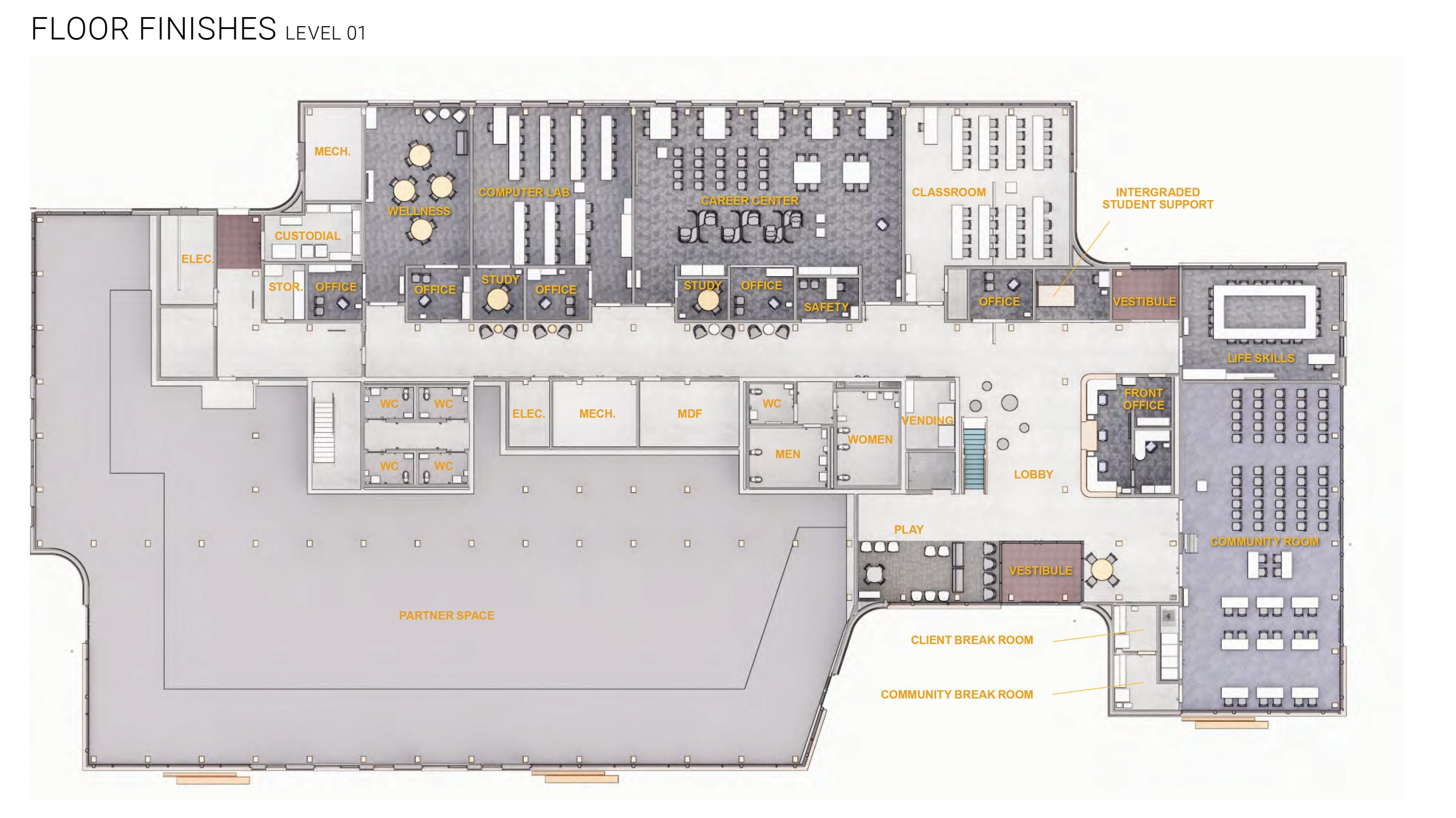 PMWTC level 1 floor plan with labels
