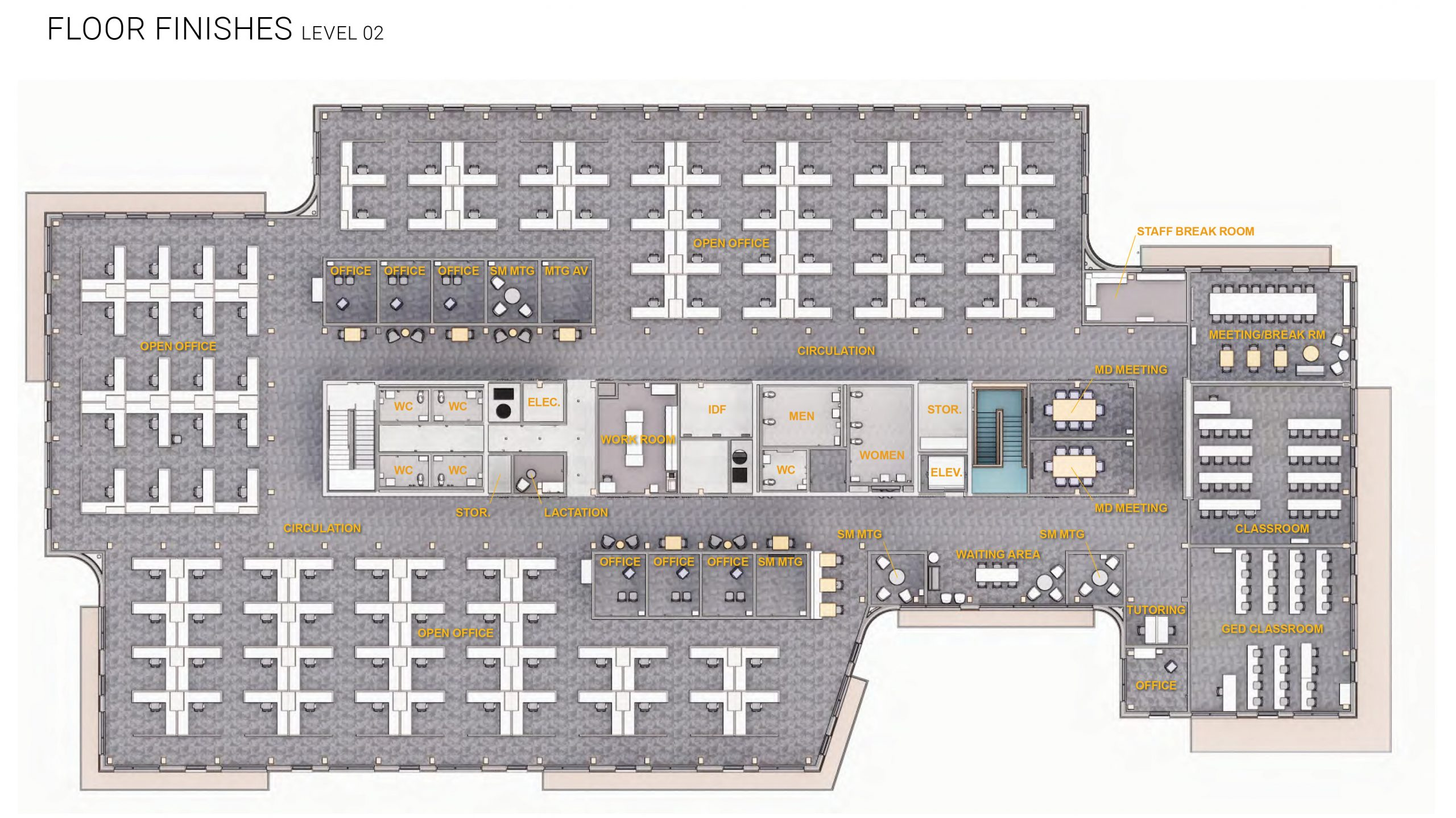 PMWTC level 2 floor plan with labels