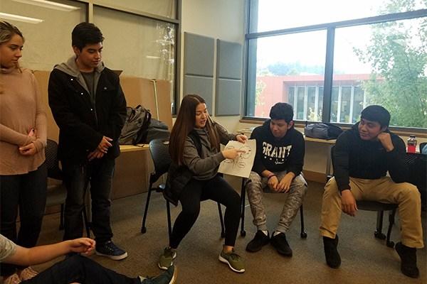 Student presenting to classmates