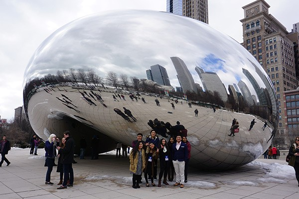 Students in front of The Bean in Chicago