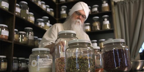 Instructor KP Khalsa in store room with jars full of herbs.