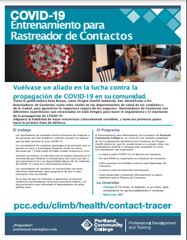 Contact Tracer flyer in español