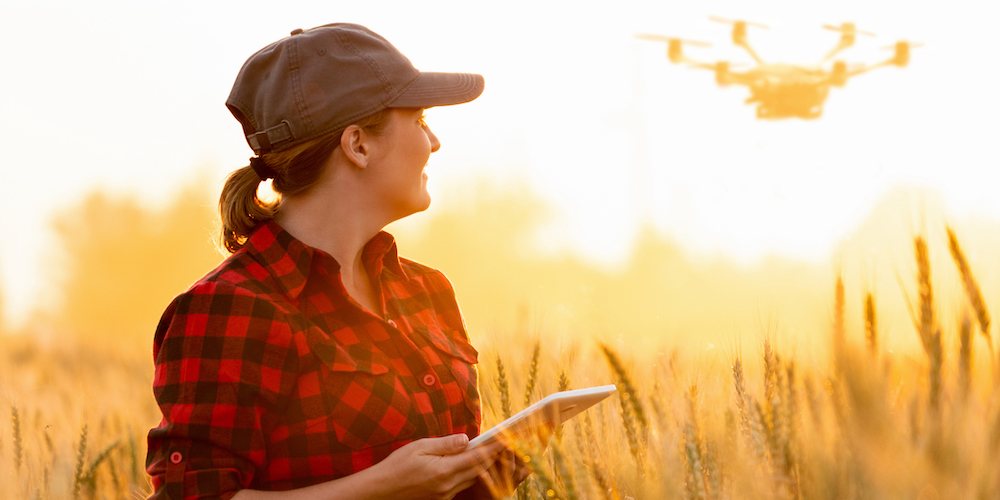 Woman farmer controls drone
