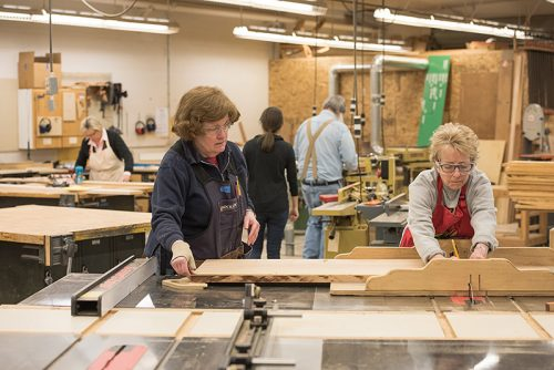 Women in a woodworking class