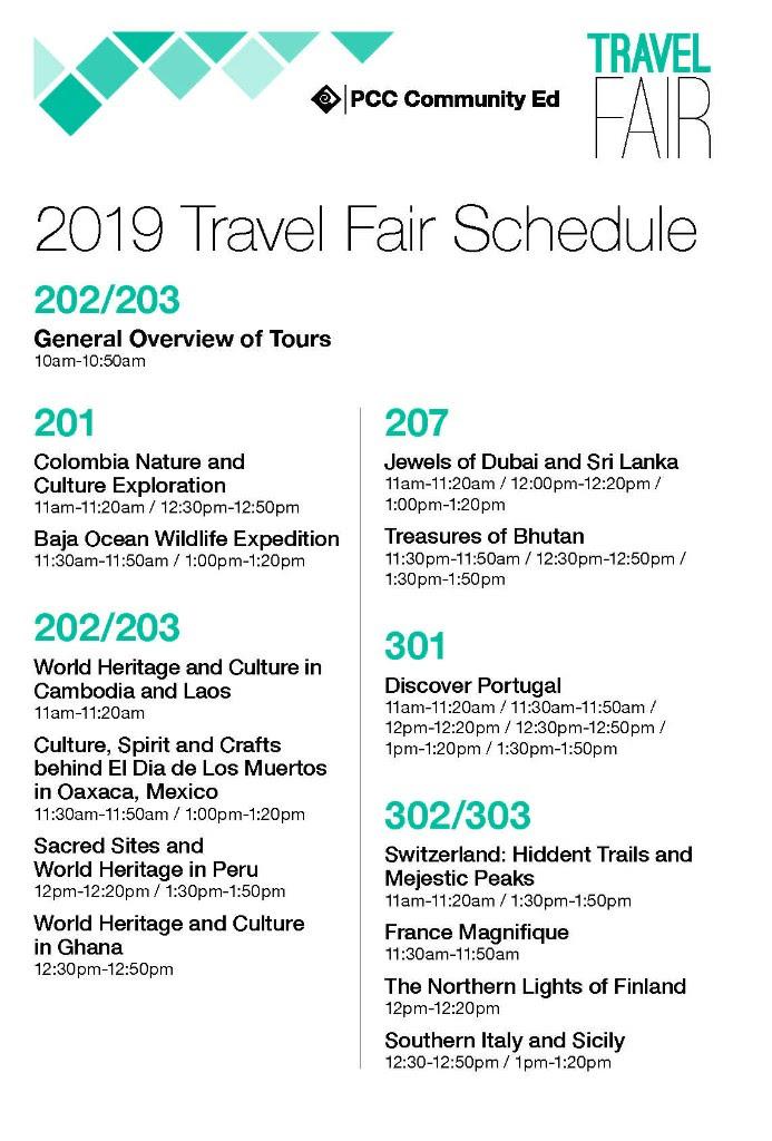 2019 PCC Travel Fair Schedule