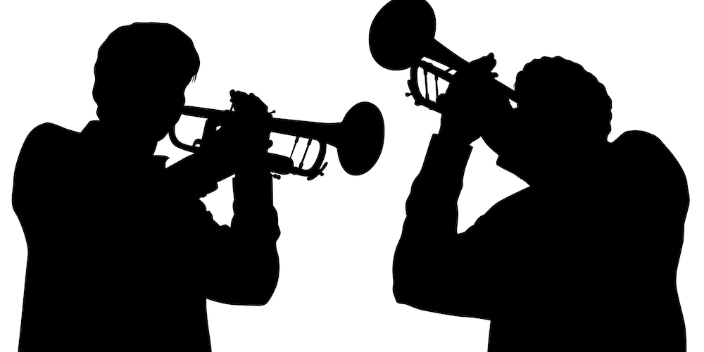 black and white illustration of two people playing trumpet