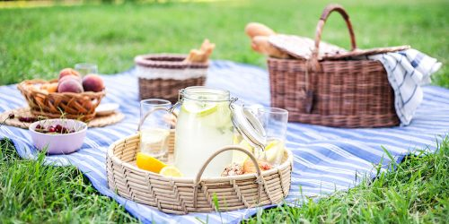summer food spread on a picnic setting