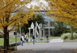 Students talking outside at Rock Creek Campus
