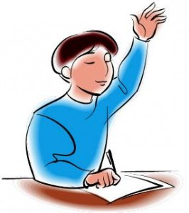 picture of a student raising hand