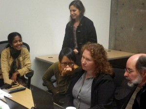 Gayathri, Phyllis, Supada, Angel and Marc testing for screen reader accessibility.