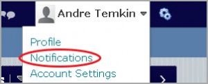 Notifications can be found  in the upper right corner, under the Action Menu next to your name on D2L page.