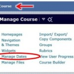 Find Manage Dates link under Manage Course widget or on Manage Course page.