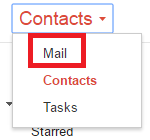 the Contacts menu in gmail
