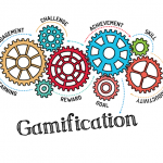 Decorative illustration of gears and Gamification title