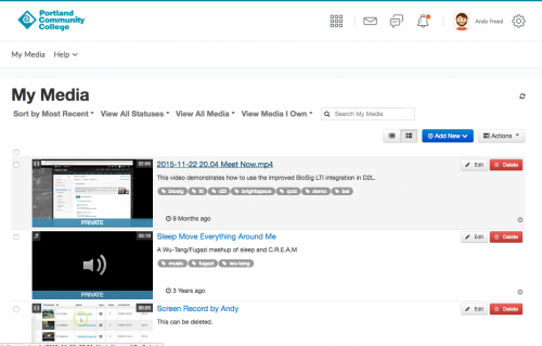 a preview of the My Media tool in D2L
