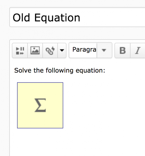 Example of the old equation layout
