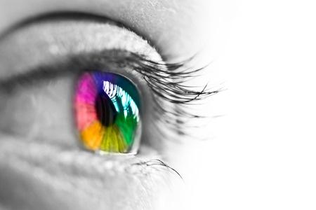 Colorful rainbow eye on white background