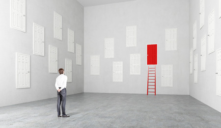 Picture of man in a room with multiple doors closed, starring at one red door with a ladder up to it.