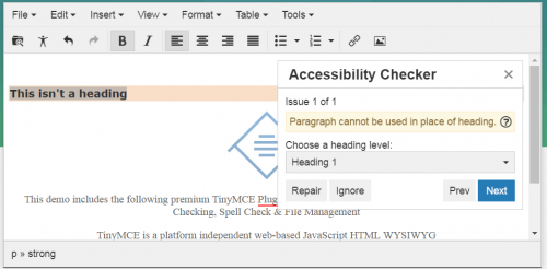 The tinyMCE accessibility checker lets you know when you're improperly using headings