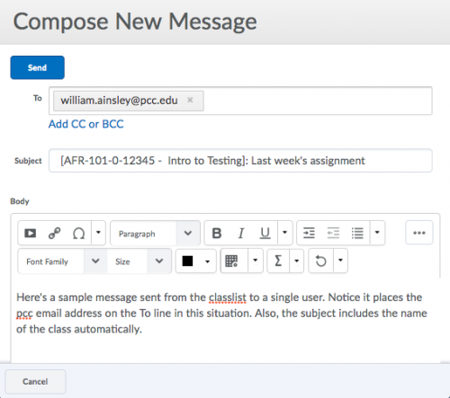 The email interface remains the same when sending from the classlist