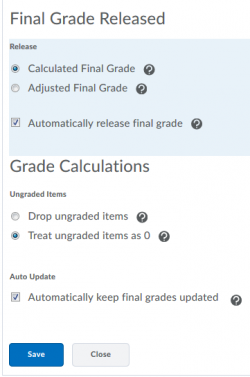 Options for releasing the final grade